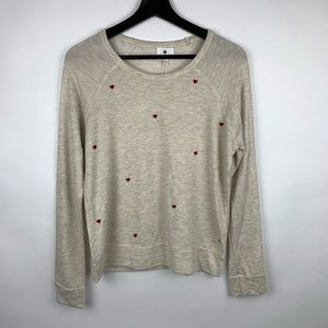 Sundry Little Hearts Oatmeal Crew Sweater Pullover